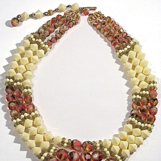 Hobe 3 strand Colorful Givre art glass & Cream Bead Necklace