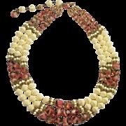 Hobe 3 strand Colorful Givre art glass & Cream Bead Necklace