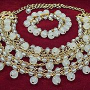 Multi-strand Milky Glass Bib Demi Necklace & Bracelet Set