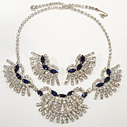 Vintage Felice Sapphire Blue & Clear Rhinestone Necklace Set