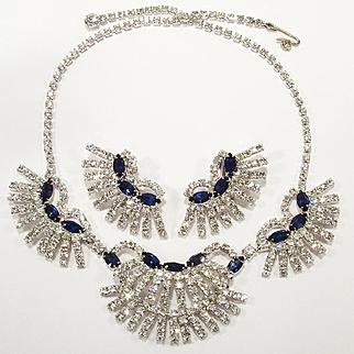 Vintage Felice Sapphire Blue & Clear Rhinestone Necklace Set