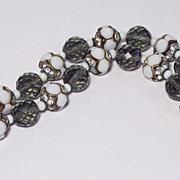 Gray Crystal Milkglass Rhinestone Bracelet