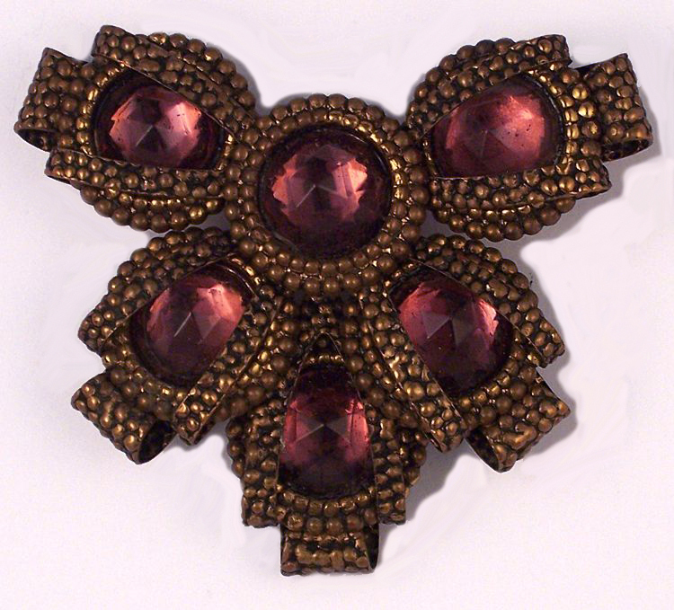 Victorian Revival Amethyst Glass Brass Brooch