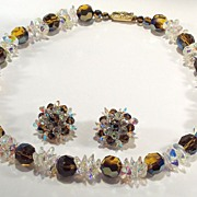 Rare Mink  topaz colored AB Rivoli Crystal Demi Necklace & Earrings