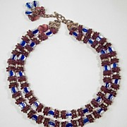 Hobe Amethyst & Cobalt Blue Cane Glass & Rhinestone Necklace