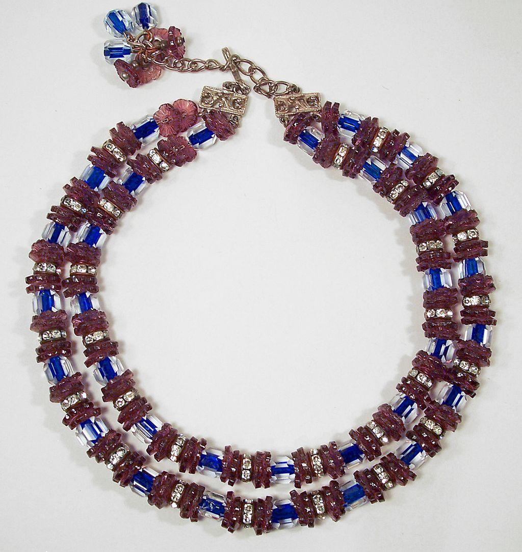 Hobe Amethyst & Cobalt Blue Cane Glass & Rhinestone Necklace
