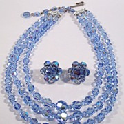 Vintage Triple Swarovski Blue Crystal Necklace Demi Set