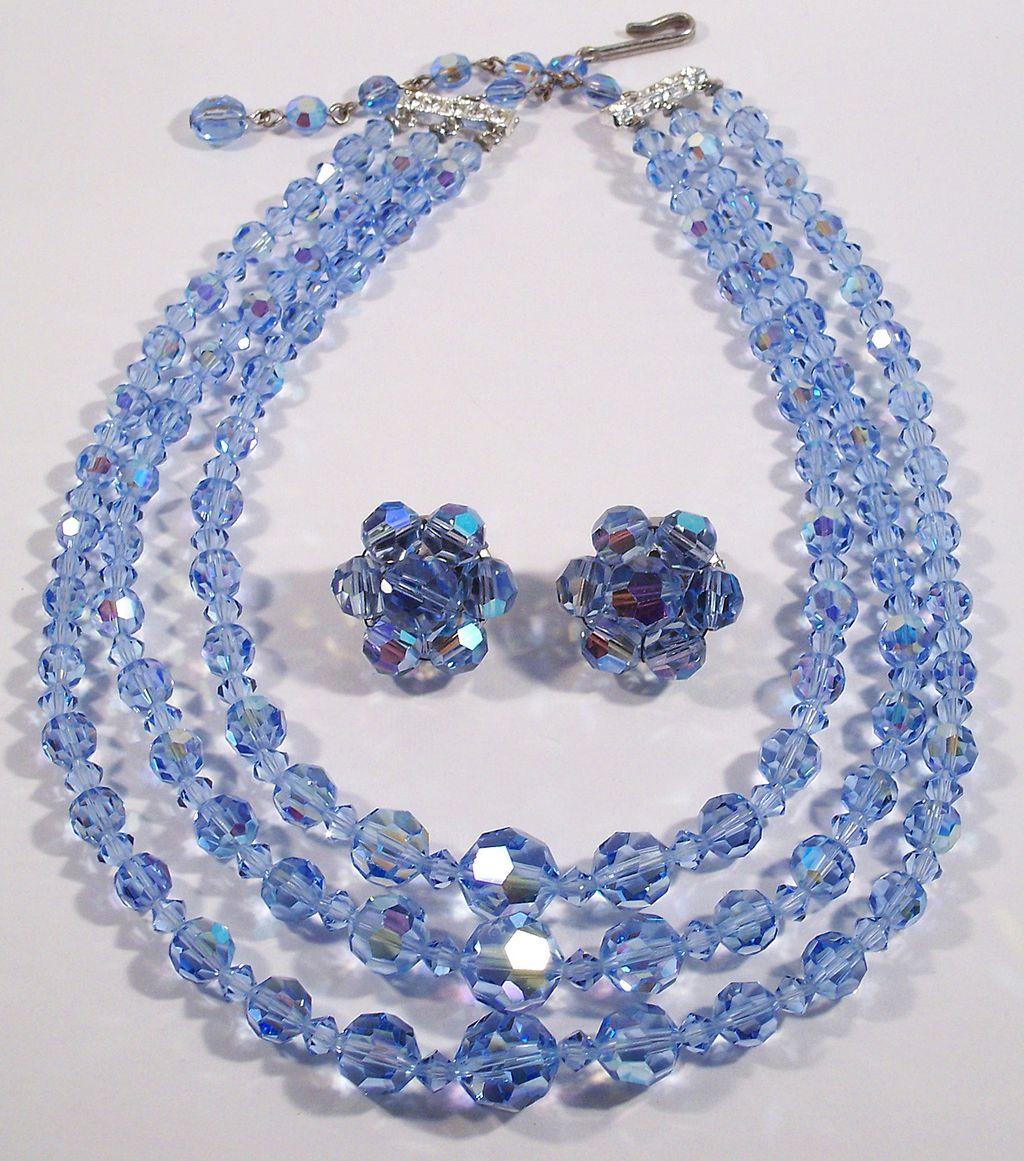 Vintage Triple Swarovski Blue Crystal Necklace Demi Set