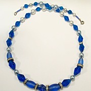 Vintage Cobalt Blue Glass Necklace