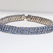 1950's Blue Rhinestone Choker Necklace  &  2 Bracelets