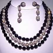 Outstanding Black Glass & Rhinestone Ball 3 Strand Necklace Set