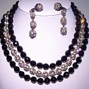 Outstanding Black Glass & Rhinestone Ball 3 Strand Necklace Set