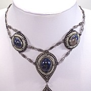 Antique Deco Chinese Sterling Silver Filigree Natural Lapis Necklace