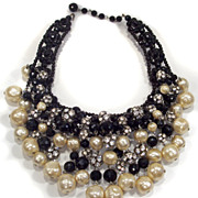 Magnificent Black Bead Baroque Pearl & Rhinestone Bib Necklace