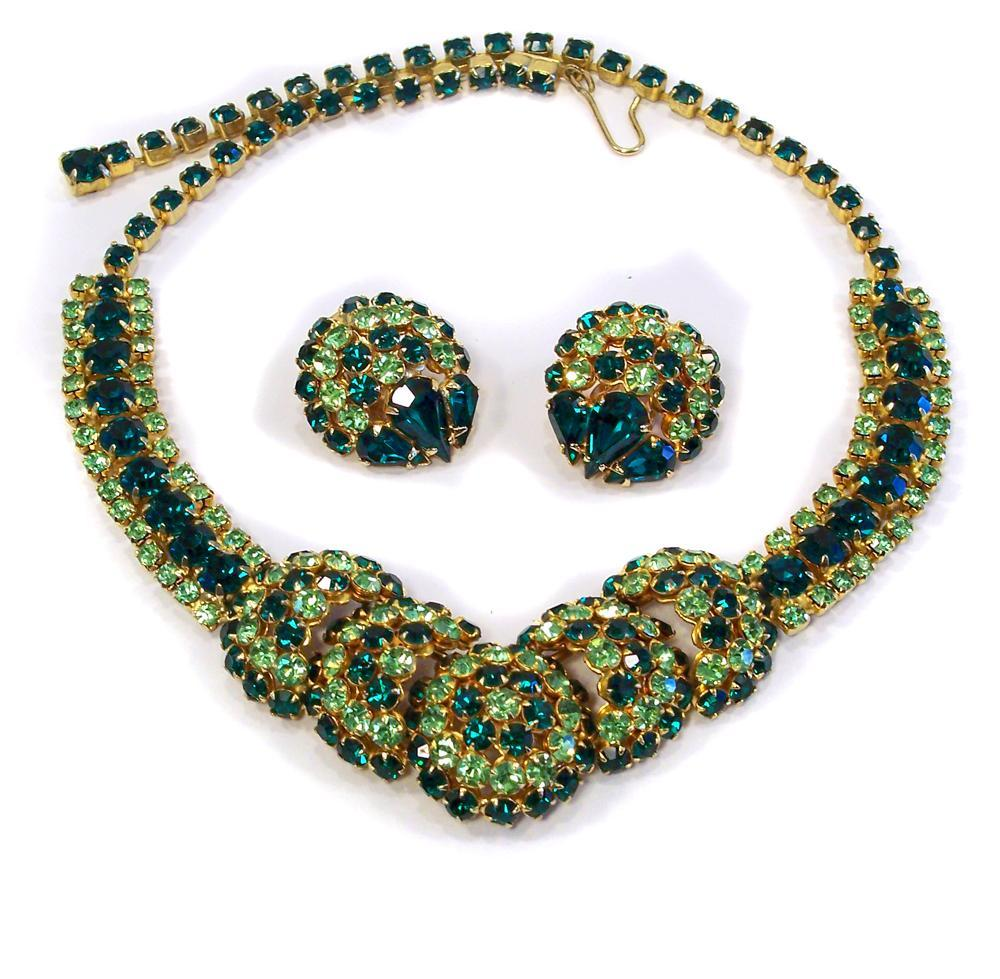 Rare Green Joseph Warner Rhinestone Necklace & Earring Set