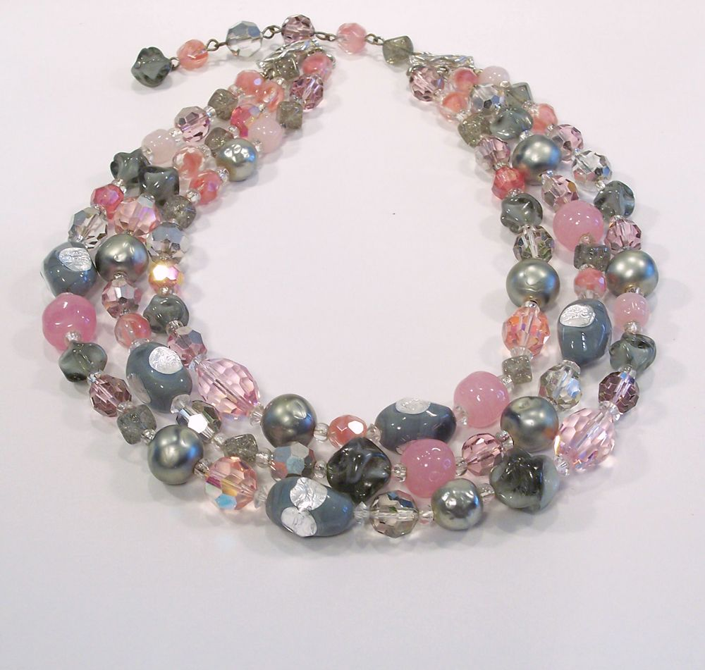 Vintage !950''s Hattie Carnegie Pink & Gray necklace