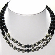 Vintage Black Crystal & Rhinestone 2 strand Necklace