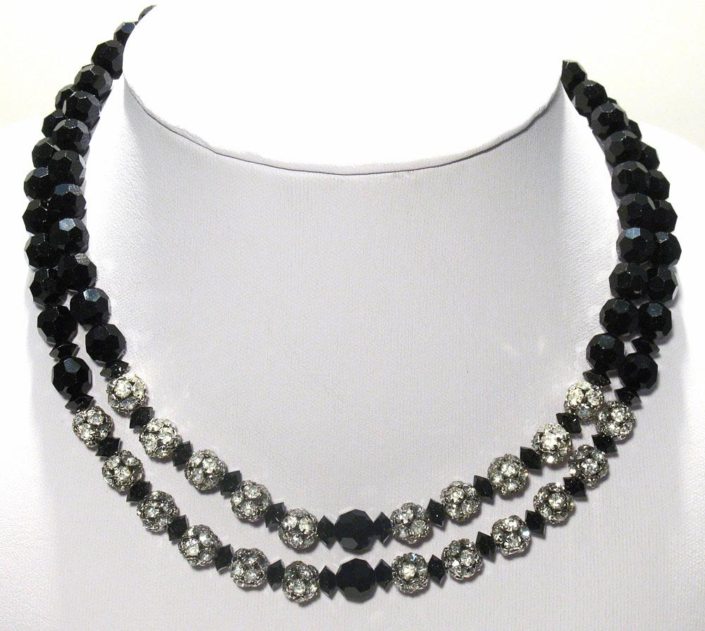 Vintage Black Crystal & Rhinestone 2 strand Necklace
