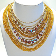 Vintage Multi-strand Golden & Topaz Crystal Necklace