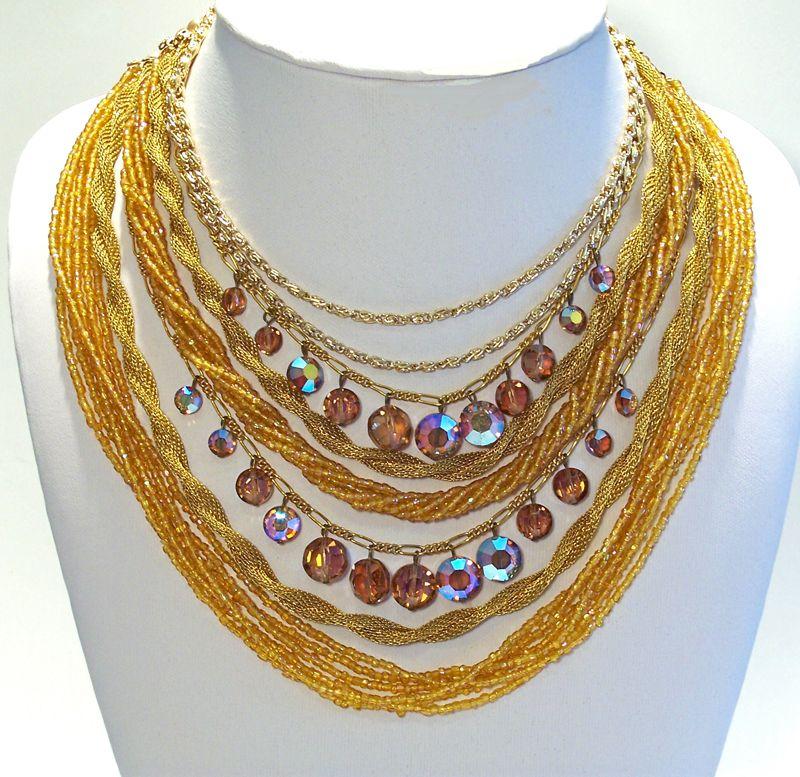 Vintage Multi-strand Golden & Topaz Crystal Necklace