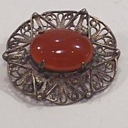 Vintage Sterling Silver Carnelian Brooch Pendant