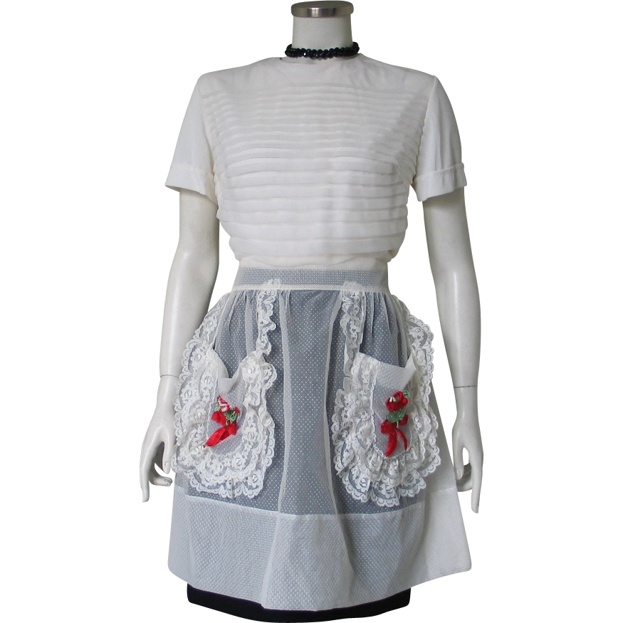 Vintage 1960s Sheer White Dotted Swiss Hostess Apron with Embroidered Red Roses