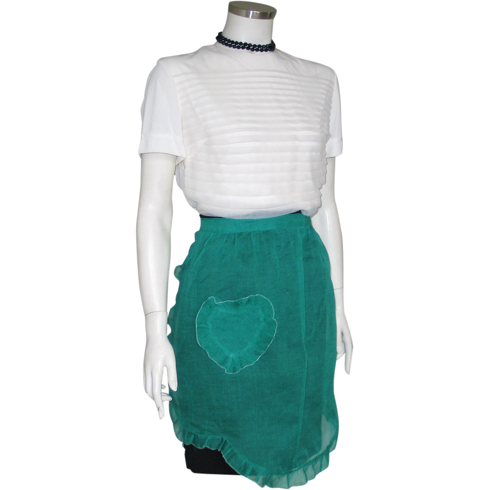 Vintage 1960s Sheer Green Hostess Apron with Heart Shaped Pocket with White Edging