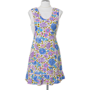 Vintage 1960s White Light Blue and Lilac Floral Pinafore Apron with Heart Shaped Pocket