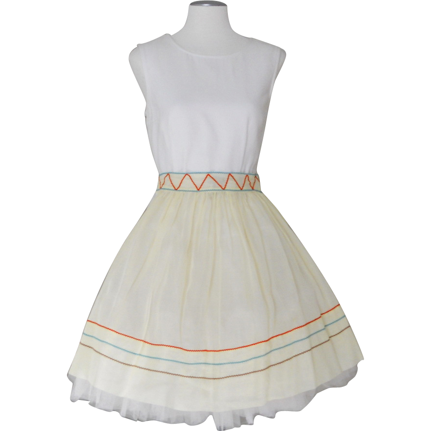 Vintage 1960s Pale Yellow Sheer Apron with Turquoise, Orange and Mocha Brown Zig Zag Trim