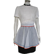Vintage 1960s Sheer White Apron w Red Blue Gold Circus RicRac Trim