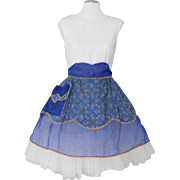 Vintage 1960s Royal Blue Sheer Apron with Contrast Ethnic Print Cotton Apron
