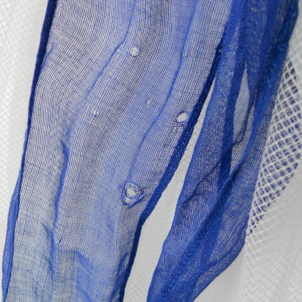 Vintage 1960s Royal Blue Sheer Apron With Contrast Ethnic