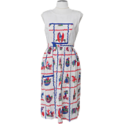Vintage 1940s Novelty Print Pinafore Apron Exotic Mexican Southwest Theme
