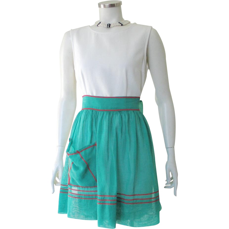 Vintage 1960S Sheer Green Hostess Apron with Holly Red Ric Rac Trim