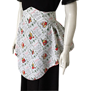 Vintage 1960s Novelty Print Apron with Recipes Vegetables and Kitchenwares