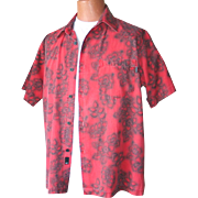 Vintage Early 1990s Red and Black Hibiscus Hawaiian Print Aloha Shirt by O'Neill