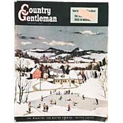 Vintage January 1950 Country Gentleman Magazine Original Complete Winter Scene Cover