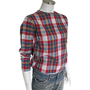 Vintage 1960s Navy Blue and Red Madras Plaid Blouse - Red Tag Sale Item