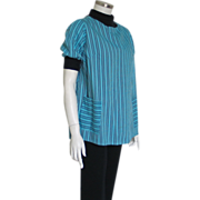 Vintage 1950s Yoked Maternity Top of Turquoise and Black Striped Cotton with Knit Trim L XL