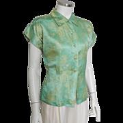 Vintage 1940s Jade Seafoam Green Oriental Satin Brocade Blouse Top M