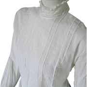 Beautiful Edwardian White Shirt Waist Blouse with High Collar Tucks and Embroidery