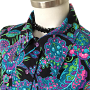 Vintage 1970s Psychedelic Black with Neon Blue Purple Paisley Blouse