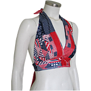 Vintage 1970s Red White and Blue Patriotic Halter Top Blouse