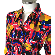 Vintage 1970s Psychedelic Black and Bright Flower Abstract Print Top Blouse M L
