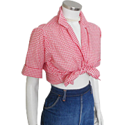 Vintage 1950s 1960s Red Gingham Loop Button VLV Blouse with Rollup Sleeves by Joyce Lane M