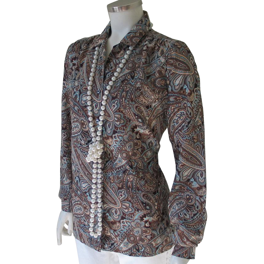 Vintage 1970s Koret of California Turquoise Brown Ivory Paisley Blouse M L