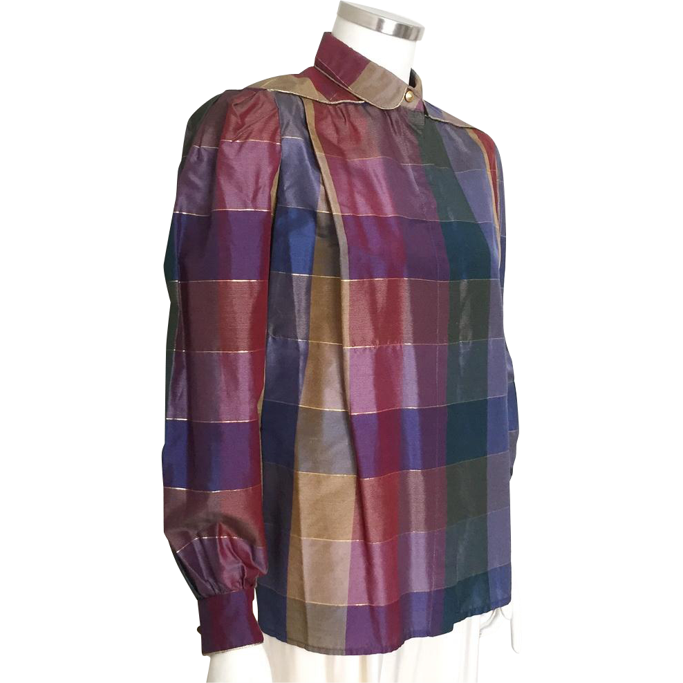 Vintage 1980s Valentino Silk and Lame Dark Autumn Plaid Blouse with Shimmering Gold Trim