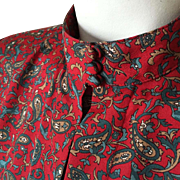 Vintage 1980s Deep Red, Teal, Cream and Gray Blouse with Novelty Print of Paisley and Deer M