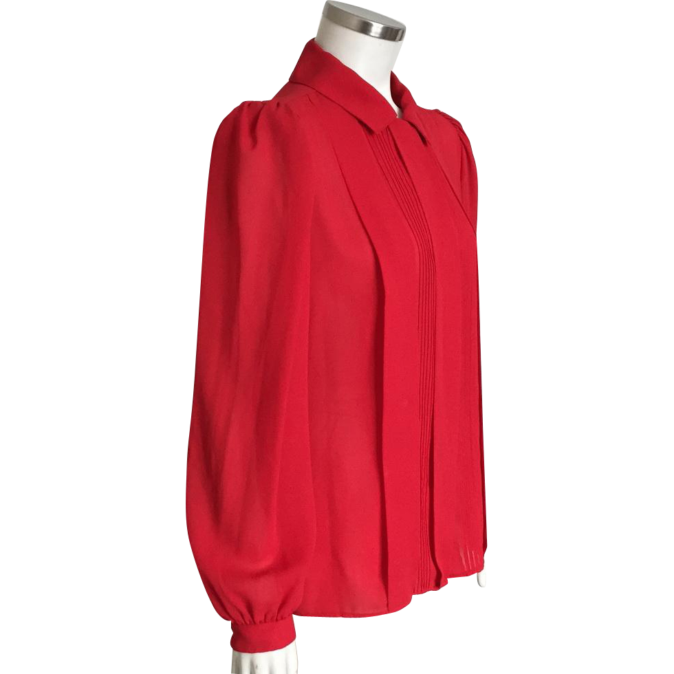 Vintage 1980s Red Crepe Southern Lady Blouse with Tuxedo Inspired Pin Tucked Front M