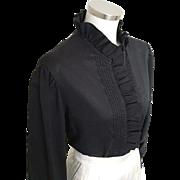 Vintage 1980s Black Judy Bond Ruffle Tuxedo Blouse L XL